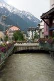 A opinião da cidade em Chamonix Imagens de Stock Royalty Free