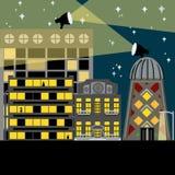 Opinião da cidade na ilustração da noite ilustração do vetor