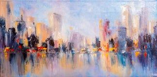 Opinião da cidade da skyline com reflexões na água ilustração stock