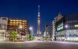 Opinião da construção do Tóquio e árvore do céu de tokyo Imagem de Stock