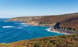 Opinião da costa de Cornualha da cabeça Inglaterra Reino Unido de Zennor perto de St Ives Fotos de Stock Royalty Free
