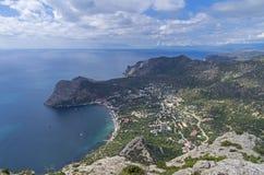Opinião da costa do Mar Negro da parte superior da montanha Crimeia, Sept Foto de Stock Royalty Free