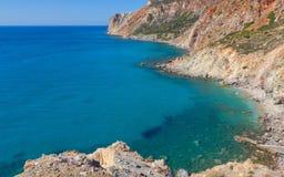Opinião da costa leste os Milos Fotografia de Stock Royalty Free