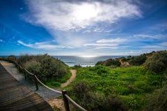 Opinião da Dinamarca Rocha do Praia Foto de Stock Royalty Free