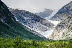 Opinião da distância da geleira a maior na geleira continental de Europa Jostedal imagem de stock