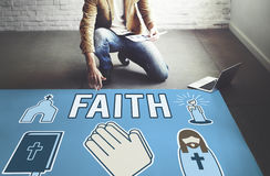 A opinião da fé acredita o conceito da esperança da convicção da confiança imagens de stock royalty free