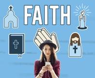 A opinião da fé acredita o conceito da esperança da convicção da confiança fotografia de stock