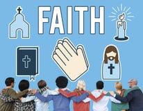 A opinião da fé acredita o conceito da esperança da convicção da confiança foto de stock