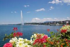 Opinião da fonte do lago geneva Foto de Stock