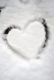Opinião da forma do coração da neve Foto de Stock