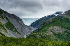 Opinião da geleira de Whittier no Estados Unidos da América de Alaska Fotografia de Stock