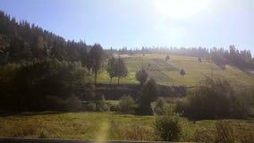 Opinião da janela do carro, ônibus, trem Dia ensolarado de viagem Viajam as montanhas bonitas no outono vídeos de arquivo
