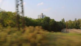 Opinião da janela da viagem de trem video estoque