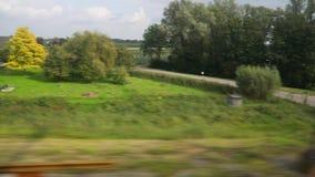 Opinião da janela da viagem de trem vídeos de arquivo