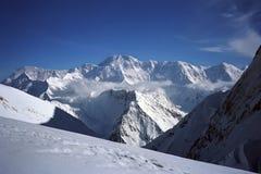 Opinião da manhã ao pico de Pobeda 7439m Imagens de Stock