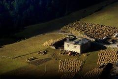Opinião da manhã da vila tibetana em Sichuan China Imagens de Stock