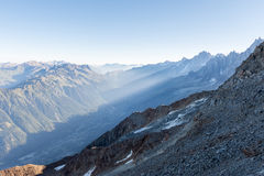 Opinião da manhã em Chamonix Fotografia de Stock Royalty Free