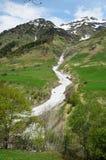 Opinião da mola da passagem de Tourmalet em Pyrenees Fotos de Stock Royalty Free