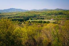 Opinião da mola das montanhas apalaches de uma negligência em I-6 fotos de stock