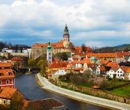Opinião da mola de Cesky Krumlov. República checa fotografia de stock royalty free
