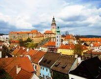 Opinião da mola de Cesky Krumlov. República checa Imagens de Stock