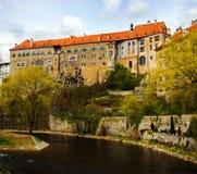 Opinião da mola de Cesky Krumlov. República checa Foto de Stock