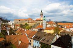 Opinião da mola de Cesky Krumlov. República checa Fotos de Stock