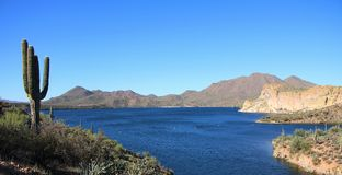 Opinião da montanha e do deserto do lago Foto de Stock Royalty Free