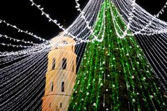 Opinião da noite da árvore de Natal em Vilnius, Lituânia Comemorando feriados do Xmas nos Estados Bálticos Fotos de Stock Royalty Free