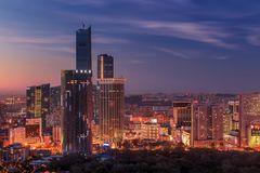 Opinião da noite da cidade de Dalian fotos de stock