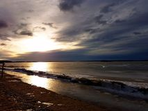 Opinião da noite da área costal de Vaasa Foto de Stock