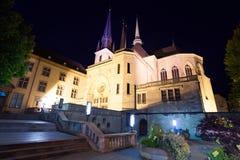Opinião da noite da catedral de Notre-Dame Fotos de Stock