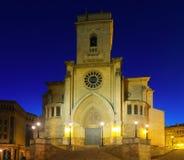 Opinião da noite da catedral de San Juan de Albacete Imagem de Stock