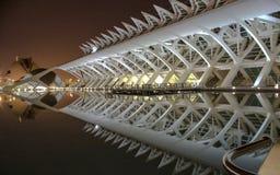 Opinião da noite da cidade das artes e das ciências com reflexão, Valência, Espanha Fotografia de Stock