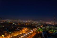 Opinião da noite da cidade de Chisinau fotos de stock