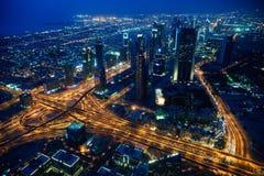 Opinião da noite da cidade de Dubai Fotos de Stock Royalty Free