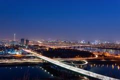 Opinião da noite da cidade de Seoul, Coreia do Sul Fotos de Stock Royalty Free