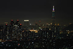 Opinião da noite da cidade de Taipei Imagem de Stock Royalty Free