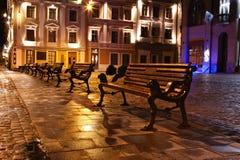 Opinião da noite da cidade européia velha Fotografia de Stock