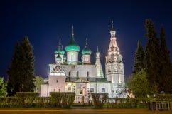 Opinião da noite da igreja de Elijah o profeta em Yaroslavl, Rússia Foto de Stock Royalty Free
