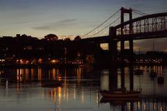 Opinião da noite da ponte de Tamar Fotos de Stock Royalty Free