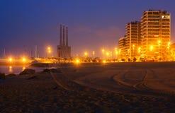 Opinião da noite da praia em Badalona Fotografia de Stock