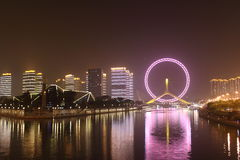 Opinião da noite da roda de ferris do olho de Tianjin Fotos de Stock Royalty Free