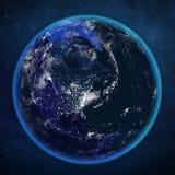 Opinião da noite da terra do planeta do espaço Imagem de Stock Royalty Free