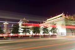Opinião da noite da torre da cidade antiga de Xian Foto de Stock Royalty Free