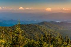 Opinião da noite das montanhas apalaches da abóbada de Clingman mim Imagens de Stock Royalty Free
