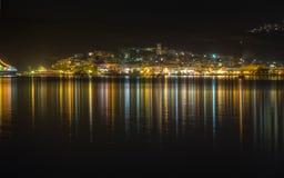Opinião da noite de Adamantas, Milos, Greece Fotos de Stock Royalty Free