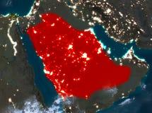 Opinião da noite de Arábia Saudita Foto de Stock Royalty Free