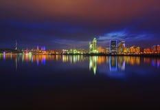 Opinião da noite de Baku Imagens de Stock Royalty Free