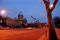 Opinião da noite de Belgrado   Fotos de Stock